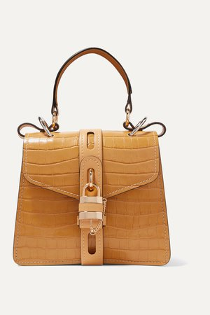 Yellow Aby small croc-effect leather tote | Chloé | NET-A-PORTER