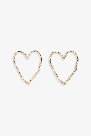 Heart studs - Gold metallic - Earrings - Monki WW