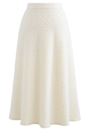 Embossed Mesh Flare Midi Skirt in White - Retro, Indie and Unique Fashion