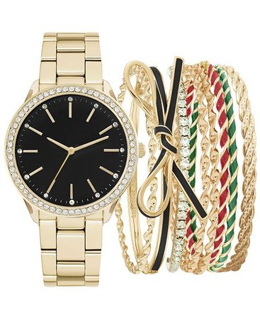 Jessica Carlyle Women's Gold-Tone Bracelet Watch 34mm Gift Set & Reviews - Watches - Jewelry & Watches - Macy's