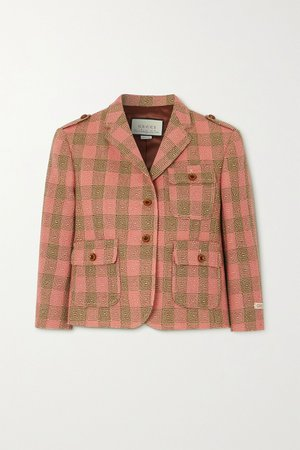 Pink Checked wool blazer | Gucci | NET-A-PORTER