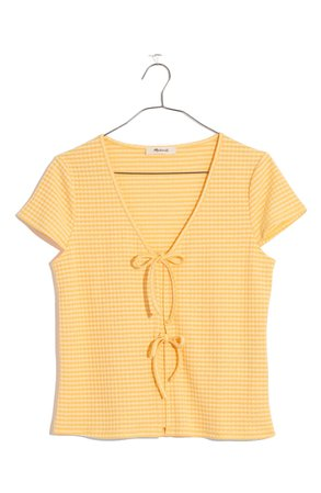 Madewell Gingham Bow Front Top
