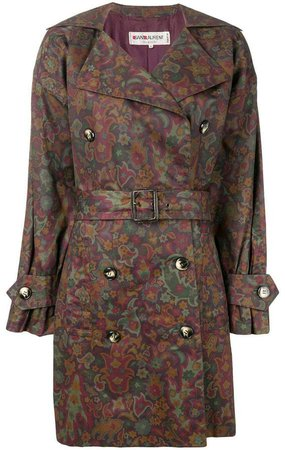 Pre-Owned floral print trench coat