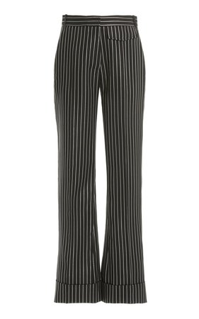 Metallic-Striped Wool-Blend Cuffed Straight-Leg Trousers by Victoria Beckham | Moda Operandi