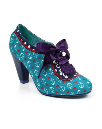 Poetic Licence Backlash Womens Teal Anchor Lace-up Heels Shoe/Boots RRP £89.99   eBay