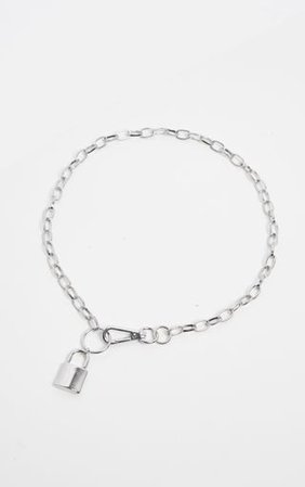 Silver Chunky Clasp And Padlock Chain Necklace   PrettyLittleThing
