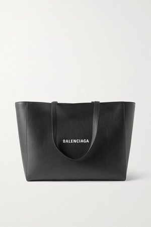 Everyday Printed Leather Tote - Black