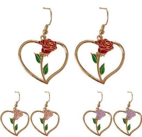itGirl Shop | METALLIC HEARTS ROSE FLOWER PURPLE RED BEIGE EARRINGS