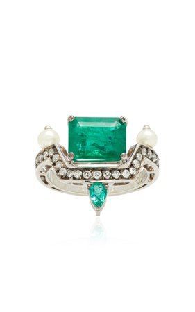 Dorion Soares 18K Emerald, Diamond and Pearl Ring