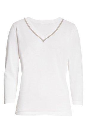 Fabiana Filippi Beaded Neck Jersey Sweater   white