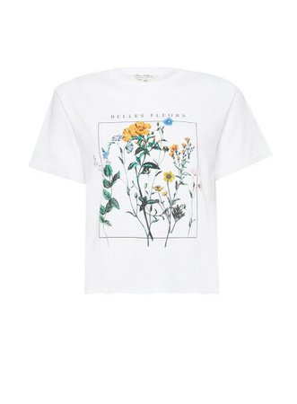 White Short Sleeve Belle Fleurs T-Shirt | Miss Selfridge