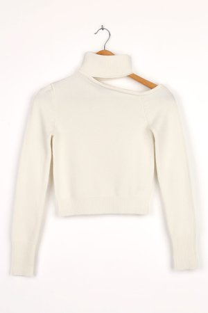 White Cutout Sweater - Cropped Sweater - Knit Sweater - Lulus