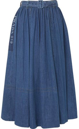 Belted Printed Denim Midi Skirt - Blue