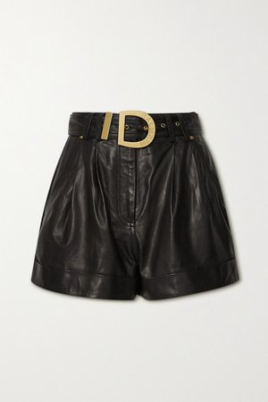 Belted Leather Shorts - Black