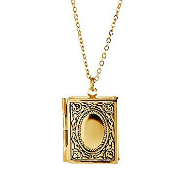 gold book necklace