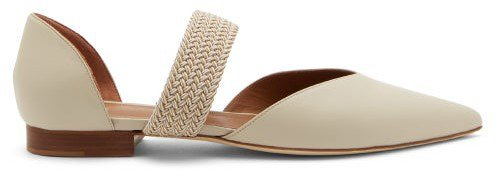 Maisie Point-toe Leather D'orsay Pumps - Beige White