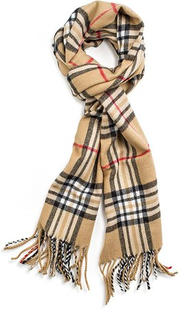 Veronz Soft Classic Cashmere Feel Winter Scarf, Camel Plaid at Amazon Women's Clothing store