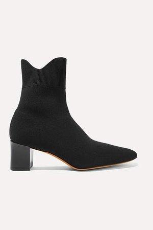 Luna Stretch-knit Sock Boots - Black