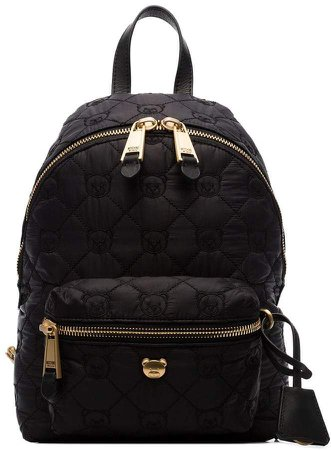 black Quilted teddy bear motif backpack