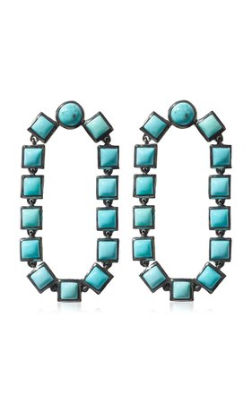 Nakard Loop Sterling Silver Turquoise Earrings By Nak Armstrong | Moda Operandi