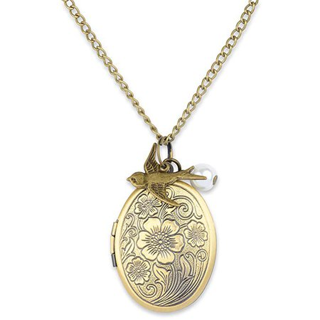 Amazon.com: Antique Swallow Bird and Pearl Charm Pendant Picture Locket Necklace (Bronze): Clothing