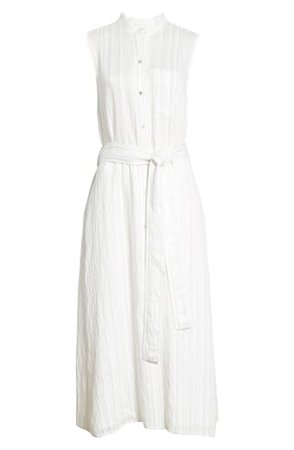 Vince Stripe Drapey Sleeveless Shirtdress | Nordstrom