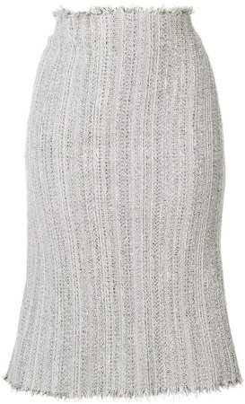 Ribbon Tweed Cardigan Pencil Skirt