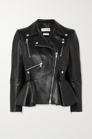 Leather Peplum Biker Jacket - Black