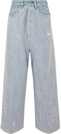 Breezy Cropped Studded High-rise Wide-leg Jeans - Mid denim