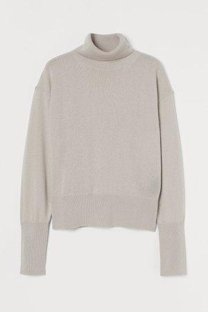 Wool Turtleneck Sweater - Beige