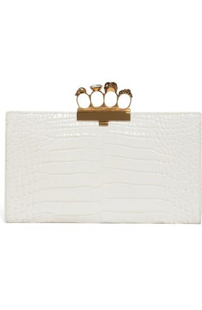 Alexander McQueen Croc Embossed Leather Knuckle Clutch | Nordstrom