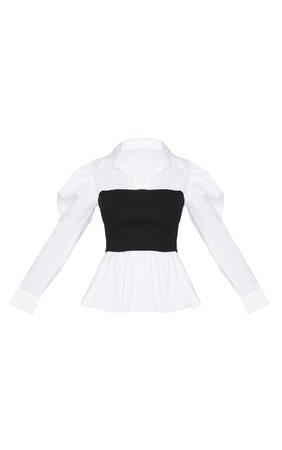 Black Rib Bust Panel White Puff Sleeve Shirt   PrettyLittleThing USA