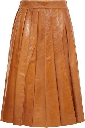 Bottega Veneta | Pleated glossed-leather skirt | NET-A-PORTER.COM