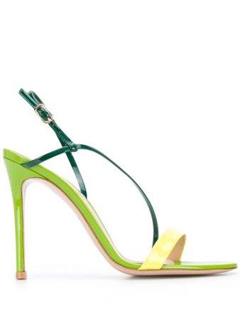 Gianvito Rossi Ric 110Mm Diagonal Strap Sandals G3016115RICVER Green | Farfetch