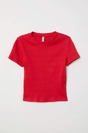Rib-knit Top - Red