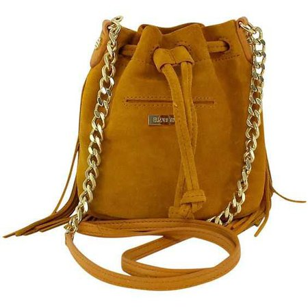 Elizabeth & James Mustard Suede Mini Bucket Bag