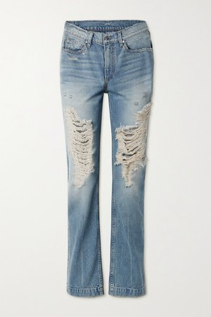 The Sasha Distressed High-rise Straight-leg Jeans - Light blue