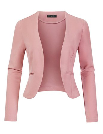 LE3NO Womens Stretchy Long Sleeve Open Front Cropped Blazer Jacket | LE3NO