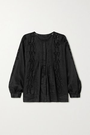 Fiona Pintucked Broderie Anglaise Ramie Top - Black