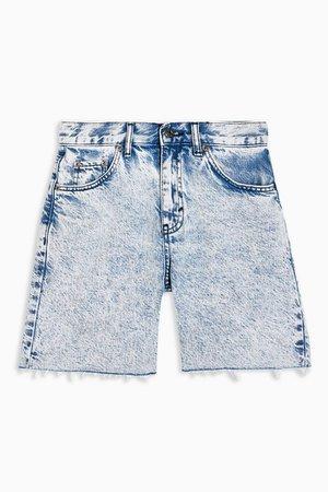 Acid Wash Mid Rise Denim Shorts | Topshop