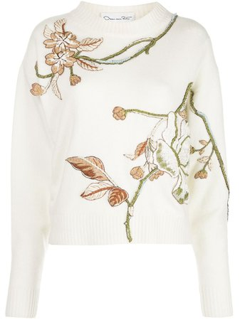 Oscar De La Renta, floral-embroidered Jumper