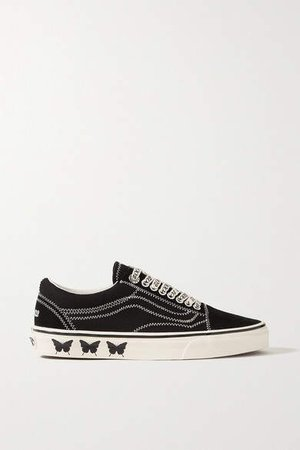 Sandy Liang Old Skool Embroidered Printed Canvas And Suede Sneakers - Black