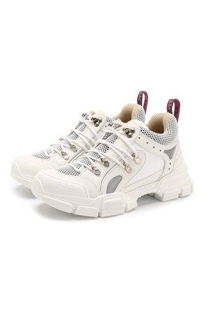 Женские белые комбинированные кроссовки flashtrek на шнуровке GUCCI — купить за 65700 руб. в интернет-магазине ЦУМ, арт. 543305/GGZ80