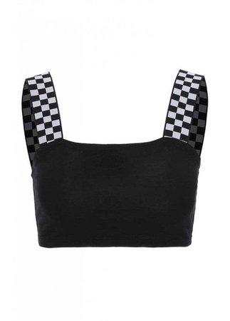 ATTITUDE CLOTHING // Checkerboard Strap Crop Top