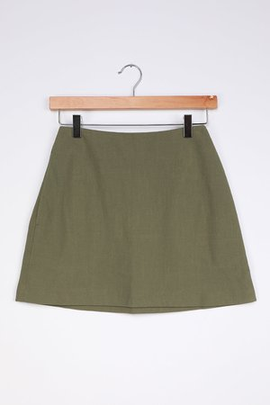 Cute Olive Green Skirt - High-Waisted Skirt - Mini Skirt - Lulus