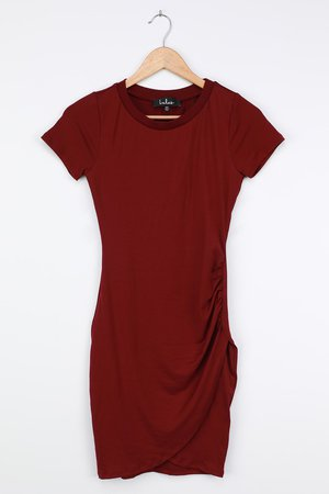 Burgundy Bodycon Dress - Short Sleeve Dress - Cute Mini Dress - Lulus