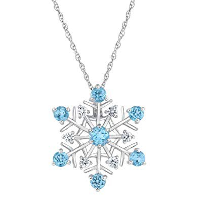 Swiss Blue Topaz and White Sapphire Snowflake Pendant