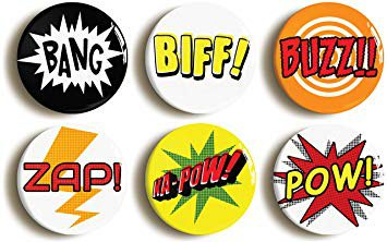 comic book phrase badges
