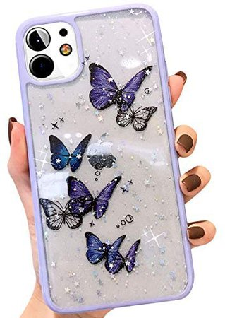 Amazon.com: hzcwxqh Compatible with iPhone 11 Case, Cute Bling Glitter Clear Iridescent Butterfly Phone Case Slim Thin Soft Silicone [Sparkle Stars Shockproof Drop Protection] for iPhone 11 6.1 inch - Purple: Clothing