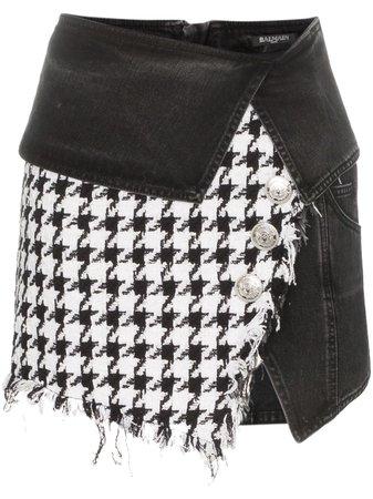 Balmain Houndstooth Denim Wrap mini-skirt - Farfetch